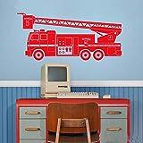 Camion de Pompier Voiture Sticker Mural décoration Murale Autocollant Chambre d'enfant Jouet Vinyle Autocollant garçon Chambre Maternelle décoration 187 cm x 85 cm