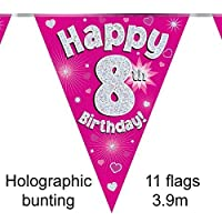 Happy 8th Birthday Pink Holographic Foil Party Bunting 3.9m Long 11 Flags