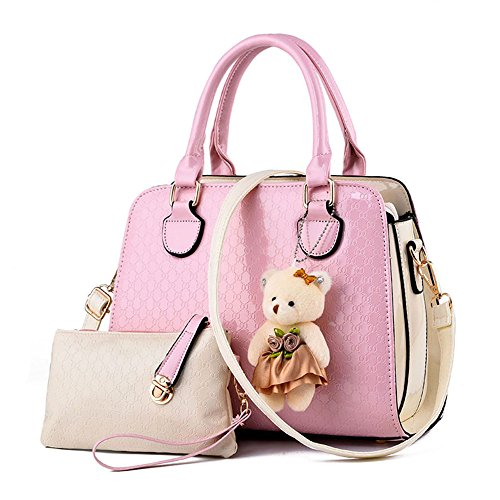 womens-2-piece-tote-bag-pu-leather-top-handle-handbag-purse-bags-set-pink