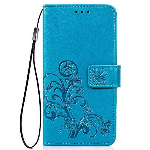 XIFAN Retro Brieftasche Stand Hülle für Cubot R9,Vierblättriges Kleeblatt Blume Geprägt PU Leder Magnetisch Flip Hülle mit Kartensteckplätze, Blau