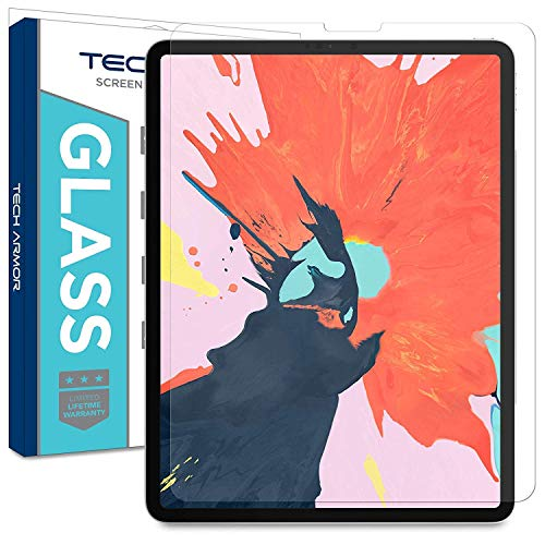 Tech Armor Ballistic Glass Screen Protector Designed for Apple iPad Pro 12.9 inch 2018 with Easy Installation Tray (Compatible with Face ID and Apple Pencil) [1-Pack] Easy Tray