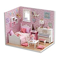 DIY Dollhouse Miniature Kit with Cover+Music Box Wood Toy DIY 3D Doll House Room Sunshine Princess Creative Furniture Handcraft Jigsaw Educational Toy Gift Set