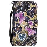 Samsung Galaxy S3 Hülle, Hozor Handy Schale Kratzfeste 3D PU Leder Flip Case Wallet Cover Bunt Gemalt Muster Schutzhülle mit Kreditkarte Ständer Book Style Handytasche - Rosa Schmetterling