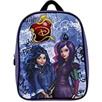 PERLETTI 13735 Disney Descendants Small Backpack for Little Girls - Mini School Bag for Kindergarten with Mal & Evie - Purple - 30x24x10 cm