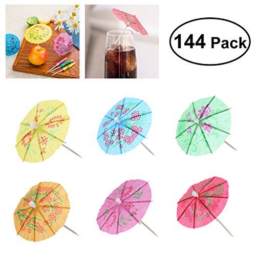 OUNONA 144 stücke Cocktail Picks Holz Zahnstocher Sonnenschirm Trinken Regenschirme Zahnstocher Geeignet für Party, Hochzeit (Mischfarbe)