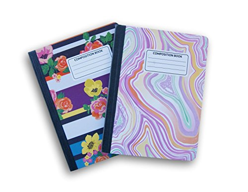 Floral und Swirl gemustert breit liniert 100Blatt Zusammensetzung Notebooks-(Pack von 2) (Zusammensetzung Notebooks Bulk In)