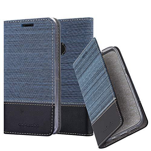 Cadorabo Hülle für ZTE Blade V9 - Hülle in DUNKEL BLAU SCHWARZ – Handyhülle mit Standfunktion und Kartenfach im Stoff Design - Case Cover Schutzhülle Etui Tasche Book