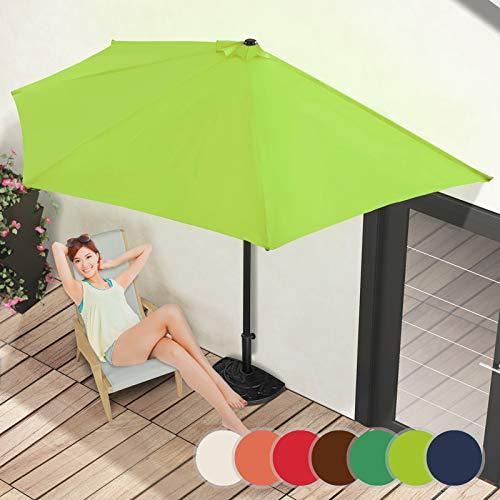 Demi-Parasol | Ø 3 m, avec Manivelle, Protection UV 30+, Polyester, Couleurs au Choix | Demi-Parasol pour Balcon, Terrasse, Jardin (Vert Citron)