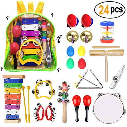 Toddler Musical Instruments- 24Pcs Baby Musical Percussion Instruments Toy Set Wooden Xylophone Glockenspiel Toy Rhythm Band Set Girls Boys Gift with Backpack