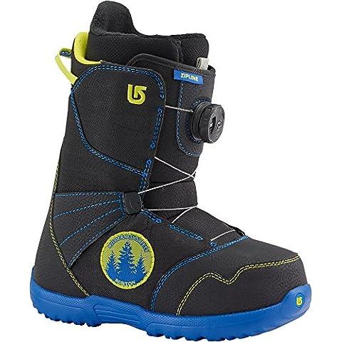 Niño botas de Snowboard Burton zipline Boa, color Negro - negro y azul, tamaño 7
