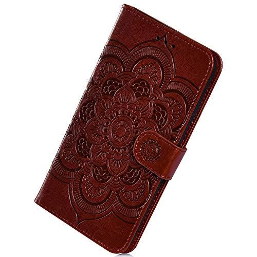 Herbests Kompatibel mit Samsung Galaxy A70 Handyhülle Retro Luxus Mandala Blumen Muster Flip Schutzhülle Case Handytasche Leder Tasche Hülle Magnet Kartenfächer Brieftasche Cover,Braun