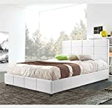 Gemma Sararreda - Faux Leather Upholstered Platform King Size Bed With Storage Compartment - Bed Frame Included - White - Made In Italy