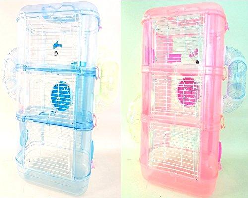 petzone Harriet hámster, ratón, Gerbil jaula azul rosa 3niveles 3pisos nhc1162