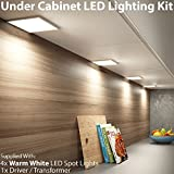 4x 6W LED Unter Schrank/Schrank quadratisch Panel Küche Leuchte & Driver Kit–Nickel Finish–Warm Weiß Beleuchtung Beam gebürstet–Einbauleuchte/bündig montiert–Counter/Arbeitsplatte Down Lights–Cablefinder