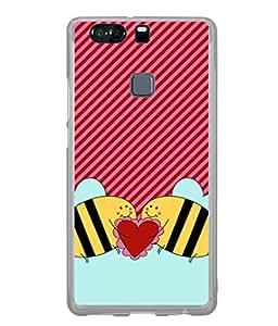 Fuson Designer Back Case Cover for Huawei P9 (Love heart Girl Valentine Three Hearts)