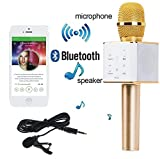 Kartik Wireless Q7 with Collar Mic Bluetooth Microphone Recording Condenser Handheld Stand with Speaker (Colour May Vary)