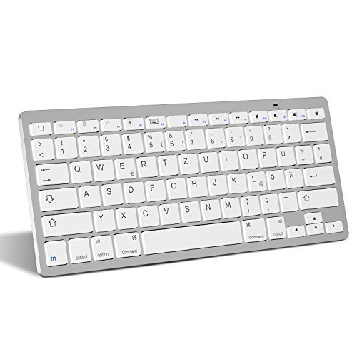 OMOTON deutsche Bluetooth Tastatur für iPad 2018,iPad 2017, iPad 5/4/3/2,iPad Air 2/1, iPad Pro 10.5, iPad Pro 12.9 und iPhone x, iPhone 8 Plus,iPhone 8 QWERTZ Layout, Kompaktes Design (Air 2 Ipad Mini)