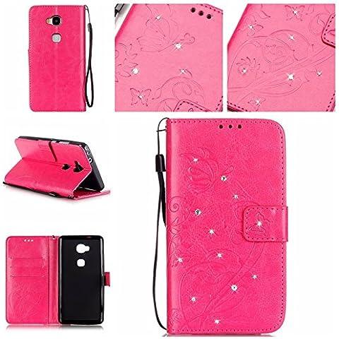 Cozy Hut Caso / copertura / telefono / sacchetto per Huawei Honor 5X,la intarsiato Bling Rhinestones di scintillio rombi Butterfly goffratura copertura di cuoio del foglio di disegno dell