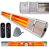 Futura Deluxe Wall Mounted Electric Infrared Outdoor Garden Patio, Bathroom Heater 2500W, Waterproof, Remote Control Included