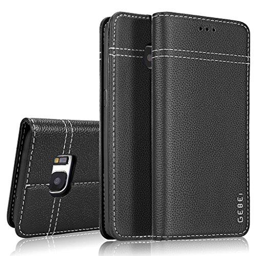 SJS Samsung Galaxy S7 Hülle,GEBEI Serie,luxuriös Echtes Leder Klapphandy Geldbeutel Halter magnetische Adsorption Einfügen von Karte Schutzhülle für Samsung Galaxy S7 (Schwarz)