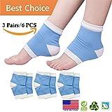 Calcetines humectantes en gel, calcetines en el talón, calcetines abiertos en gel para el talón agrietado seco, reparación del talón agrietado, tratamiento de pies secos, alivio del dolor en el talón y más. (3 pares)