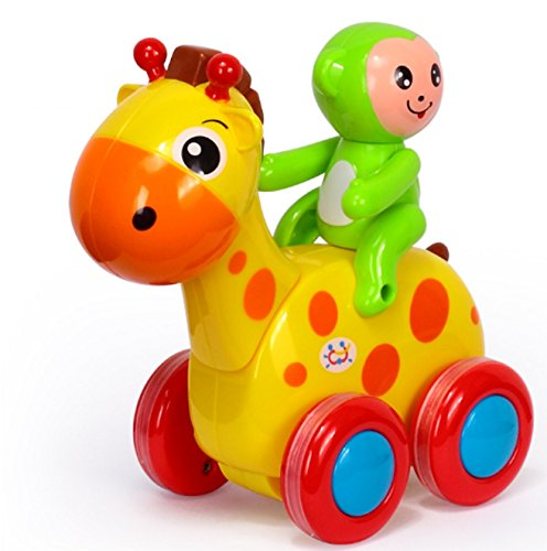 RIANZ Baby Toys Figure Pull Back Cartoon Car Toy Push and Go Friction Powered Animal Cars Fun Toys for Children 1PC (Giraffe)