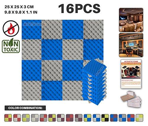 Acepunch 16 Paquet 2 Combinaison de Couleurs Bleu ET Gris Alvéolée Mousse Acoustique Panneau Insonorisation Sonorisation Absorbeur Traitement avec Ruban Adhésif 25 x 25 x 3 cm AP1052