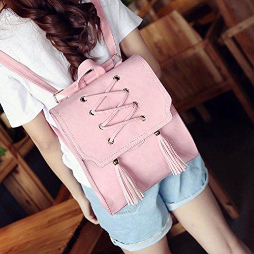 Vbiger Frauen Rucksack PU Leder Schultern Tasche Quasten Schule Tagesrucksack Allgleiches Reise Rucksäcke Pink