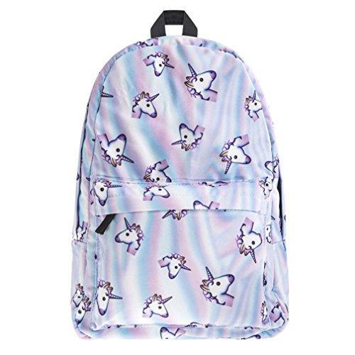borsa unicorno, Kfnire 3D unicorno stampa multi color arcobaleno unicorno zaino, borsa college scolastica per studenti adolescenti (unicorno)