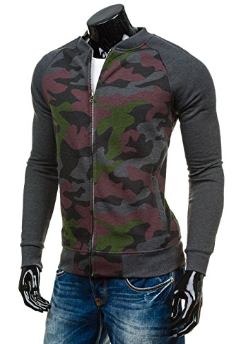 BOLF – Sweat-shirt – Fermeture éclair – HOT RED 2538A – Homme Bordeaux