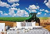 Wallsticker Warehouse Traktor Im Feld Landschaft Vlies Fototapete Fotomural - Wandbild - Tapete - 368cm x 254cm / 4 Teilig - Gedrückt auf 130gsm Vlies - 1909V8 - Wiesen & Landschaft