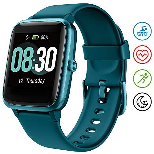 UMIDIGI Reloj Inteligente Uwatch3 5ATM Impermeable Smartwatch con Cronómetro Pulsera Actividad para Deporte de Fitness con Podómetro Smartwatch Mujer Hombre niños para iOS y Android [Azul]