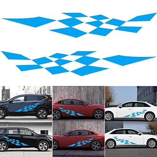Vstella 1set Grid Car Decal Vinyl Graphics Side Stickers Body Decals Generic Stickers - Blue Womens Grafik