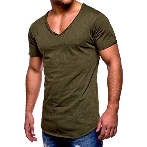 Uomo t-shirt maniche corte v collo t-shirt colore puro tops modo degli uomini slim fitness lo sport casual maglietta m - 4xl