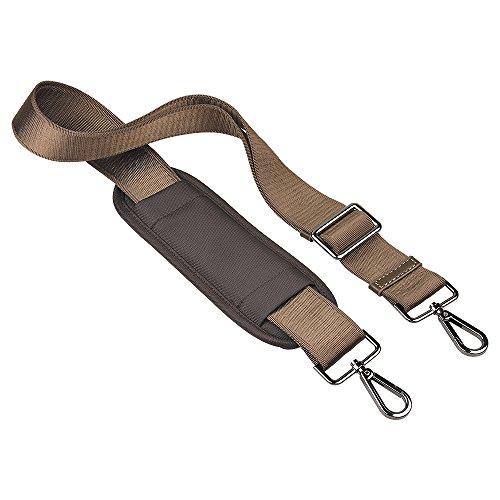 Qishare Universal Reemplazo Hombro Correa Desmontable Soft acolchado Cinturón ajustable con ganchos giratorios de metal para el equipaje Bolsas de ordenador Duffel (Caqui150cm)