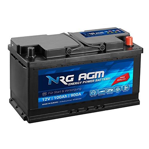 NRG AGM Autobatterie 100Ah 900A/EN 12V Start Stop Plus VRLA Batterie statt 92Ah 95Ah