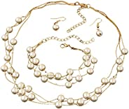 Homaz Freshwater Cultured Pearl Necklace Set Includes Stunning Bracelet and Stud Earrings Jewelry for Women