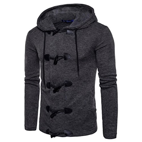 Herbst Winter Kapuzenpullover Herren, DoraMe Männer Mode Slim Strickjacke Hoodie Cardigan Feste Farbe Mantel (Dunkelgrau, XL)