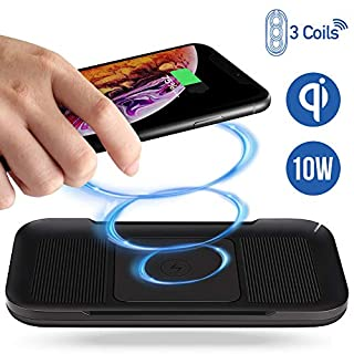 ACTOPP Induktive Ladestation Qi Ladegerät Wireless Charger 3 Spulen 10W Schnellladegerät Ladestation für iPhone XS X 8 8 Plus Samsung Galaxy S8 S8 Plus S7 S6 Edge Note 8 Alle Qi Geräte