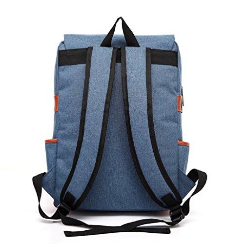 Nicetage Unisex Spalla Schoolbag grande capacità d'epoca casual zaino portatile della tela di canapa di sacchetto del calcolatore portatile Borse Tablet Viaggi Daypack Zaino GREY Blu