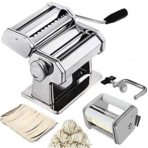 Angela Manual Pasta Maker, Stainless Steel Steamline Roller Machine for Fresh Homemade Fettuccine, Includes Cutter Hand Crank Attachments, Kitchen Use
