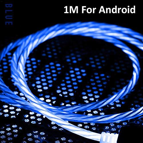 longrep Ladekabel 2.4A Datenleitung Mit LED Licht Intelligente Schnellladekabel Leuchtendes Fit für Android Gerät