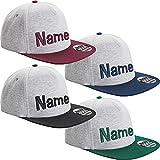 Nashville print factory Jersey Snapback Cap Bestickt mit Namen Wunschtext Stickerei Mütze Basecap (Grau/Bordeaux)