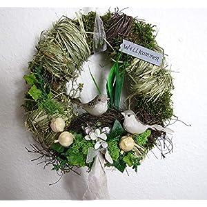 Small-Preis Türkranz rund mit Vogel Willkommen Natur ø 28 cm – Frühling – Sommer – Herbst – Willkommensgruß 968