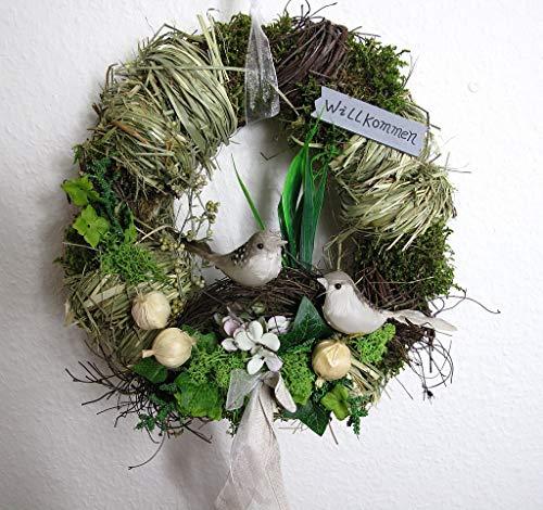Small-Preis Türkranz rund mit Vogel Willkommen Natur ø 28 cm - Frühling - Sommer - Herbst - Willkommensgruß 882 (Frühlings-kranz Für Draußen)