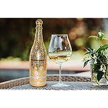 Antique Mughal estilo Pure latón chapado en oro plata grabado – Soporte de champán botella de vino con caja de terciopelo rojo conjunto de comedor de fiesta ...