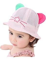 Leisial Sombrero de Pescado Algodón Lindo Sombrero de Orejas de Gato Gorras Sol Playa al Aire Libre Protector Solar Verano para Niños Bebés Rosa