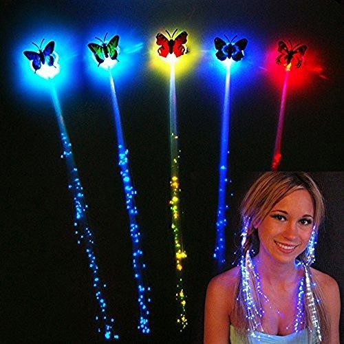 Leuchtende Schmetterling Led Haar Zöpfe 10er Set Fasching Karneval Haarsträhnen (Onesize,...