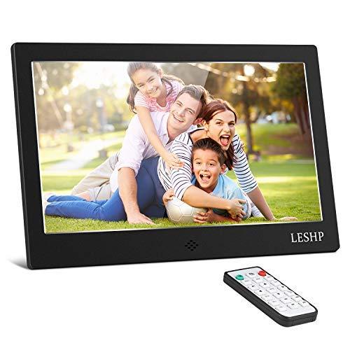 Digitaler Bilderrahmen 10 Zoll, OUTAD HD LCD Display mit Eingebauter Lautsprecher/Kalender/Uhr Funktion, Unterstützt 1080P Video/Foto/Musik Player, Auto on/Off Timer, mit Fernbedienung