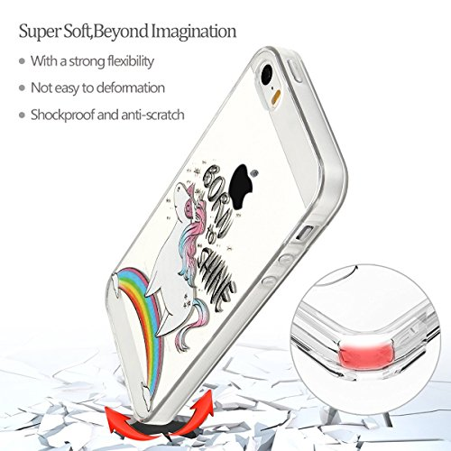 iphone 5s Hülle, E-Lush Mode Muster TPU Hülle für iphone 5s [Kratzfeste, Scratch-Resistant] Weiche Flexible Silikon Handyhülle Clear Transparent Tasche Ultra Dünne Schutzhülle Durchsichtig Rückschale  Pferd